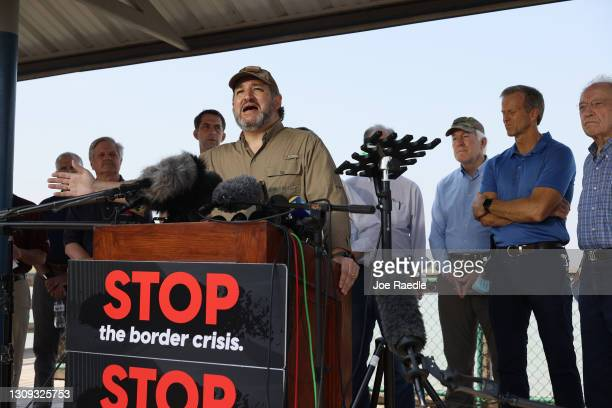 Sen. Ted Cruz speaks to the media after a tour of part of the Rio Grande river on a Texas Department of Public Safety boat on March 26, 2021 in...