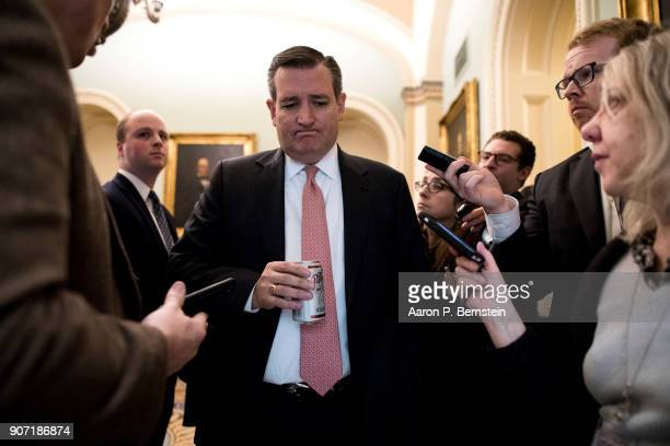 Sen Ted Cruz speaks with reporters at the US Capitol January 19 2018 in Washington DC A continuing resolution to fund the government has passed the...