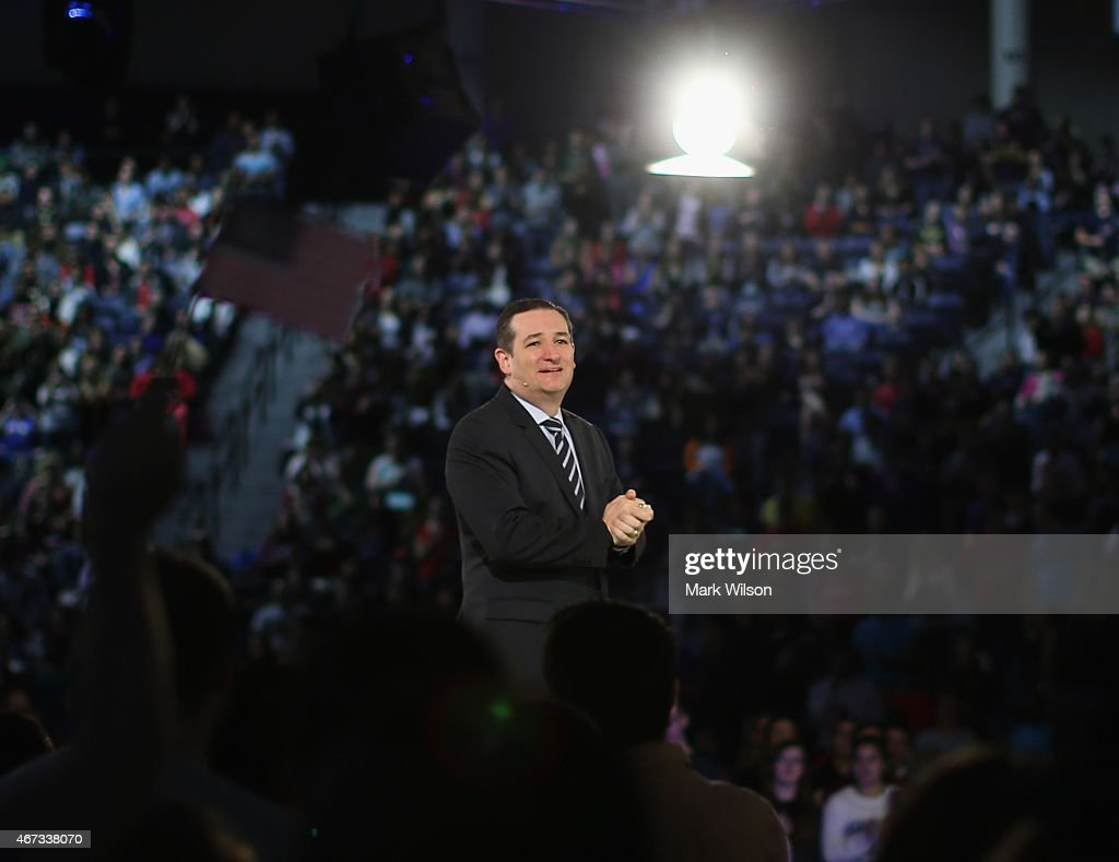 U.S. Sen. Ted Cruz (R-TX) stands on stage while speaking to a crowd gathered at Liberty University to announce his presidential candidacy March 23, 2015 in Lynchburg, Virginia. Cruz officially announced his 2016 presidential campaign for the President of the United States during the event.