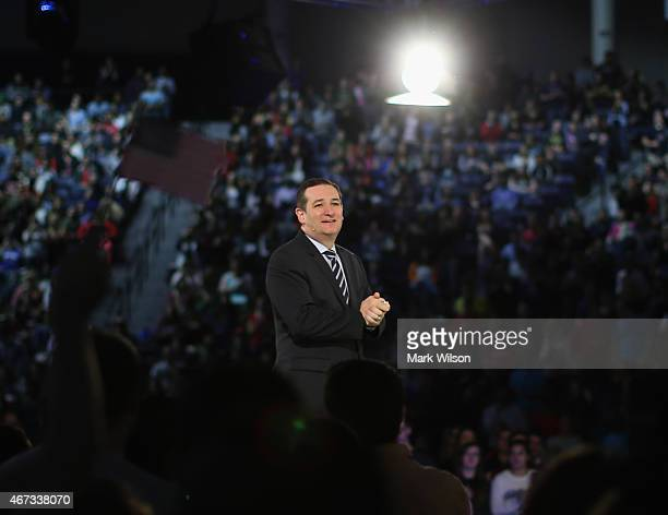 S Sen Ted Cruz stands on stage while speaking to a crowd gathered at Liberty University to announce his presidential candidacy March 23 2015 in...