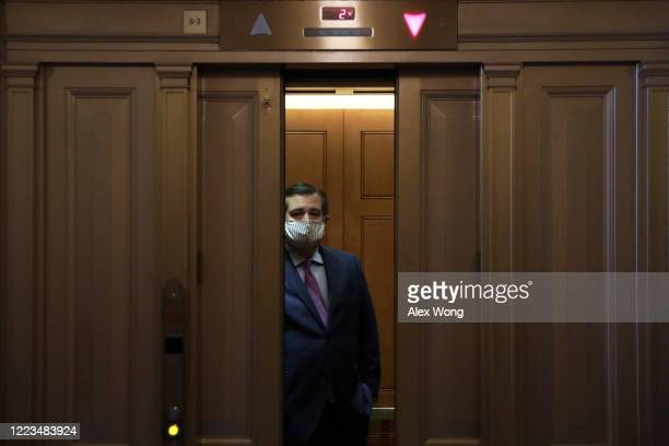 S Sen Ted Cruz takes an elevator as he leaves after a vote at the US Capitol May 7 2020 in Washington DC The Senate has resumed votes and hearings...