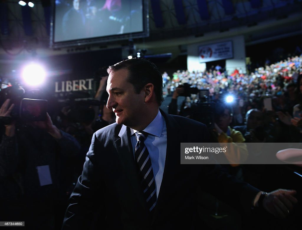 U.S. Sen. Ted Cruz (R-TX) walks on stage to speak at Liberty University to announce his presidential candidacy March 23, 2015 in Lynchburg, Virginia. Cruz officially announced his 2016 presidential campaign for the President of the United States during the event.