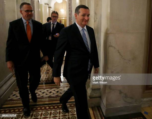 S Sen Ted Cruz walks through the US Capitol building after a vote on November 30 2017 in Washington DC Senate Republicans are poised to pass sweeping...