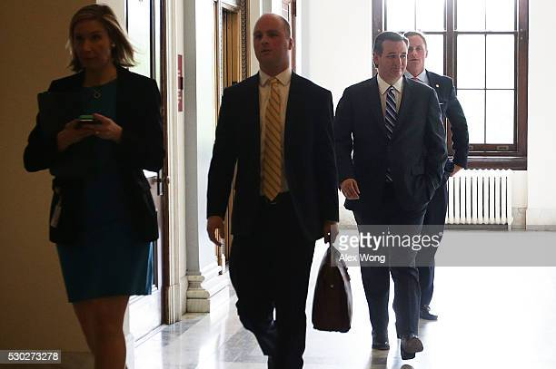 S Sen Ted Cruz walks towards his office at the Senate Russell Office Building May 10 2016 on Capitol Hill in Washington DC Sen Sen Cruz returned to...