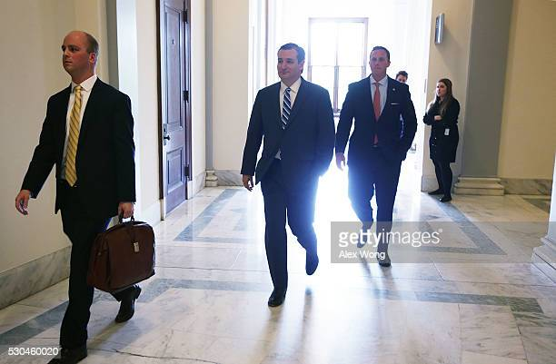 S Sen Ted Cruz walks towards his office at the Senate Russell Office Building May 10 2016 on Capitol Hill in Washington DC Sen Cruz returned to the...
