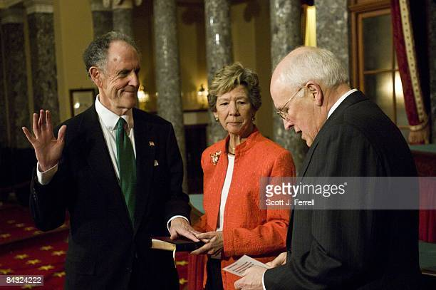 Sen. Ted Kaufman, D-Del., with wife Lynne, and Vice President Dick Cheney during a mock swearing in, in the Old Senate Chamber, after the real thing...