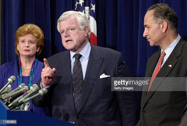 Sen Ted Kennedy addresses a press briefing after the Senate rejected a lastditch effort to pass a Medicare prescription drug benefit legislation with...