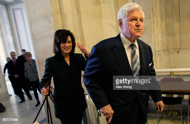 Sen. Ted Kennedy and his wife Vicki Kennedy arrive prior to a welcome lunch outside the Caucus Room at the Senate Russell Office Building on Capitol...