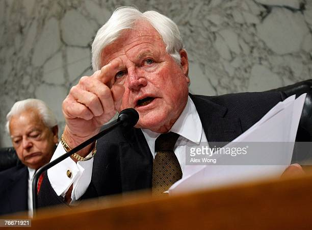 Sen Ted Kennedy asks questions during a hearing of the Senate Armed Services Committee with General David Petraeus and US Ambassador to Iraq Ryan...