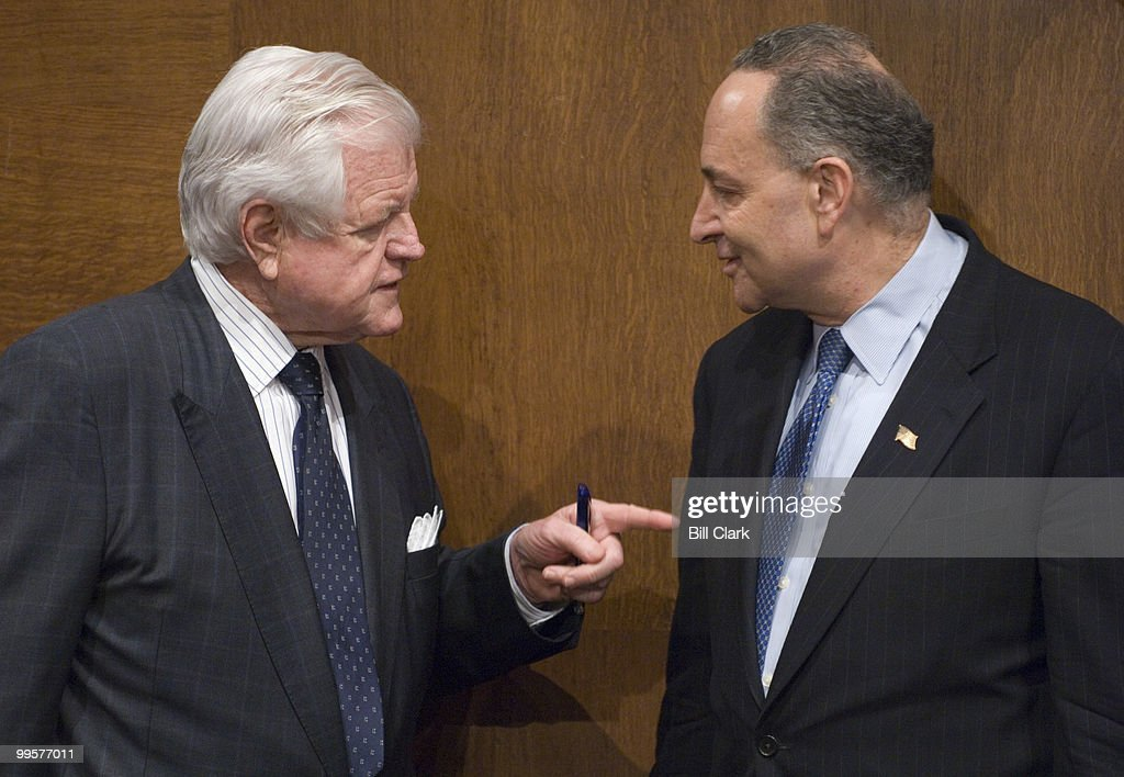 Sen. Ted Kennedy, D-Mass., and Sen. Chuck Schumer, D-N.Y., talk before the Senate Judiciary Committee voted to authorize subpoenas for Bush administration officials to aide the investigation of the firing of federal prosecuters on Thursday, March 22, 2007.