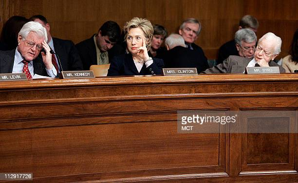 Sen Ted Kennedy Sen Hillary Clinton and Sen Robert Byrd listen to a Senate Armed Services Committee briefing from representatives from the...