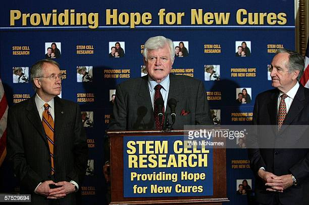 Sen. Ted Kennedy speaks during a press conference urging Senate Majority Leader Bill Frist to immediately take up the Stem Cell Research Enhancement...