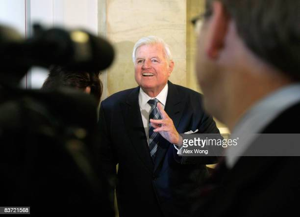 Sen. Ted Kennedy speaks to the media prior to a welcome lunch outside the Caucus Room at the Senate Russell Office Building on Capitol Hill November...