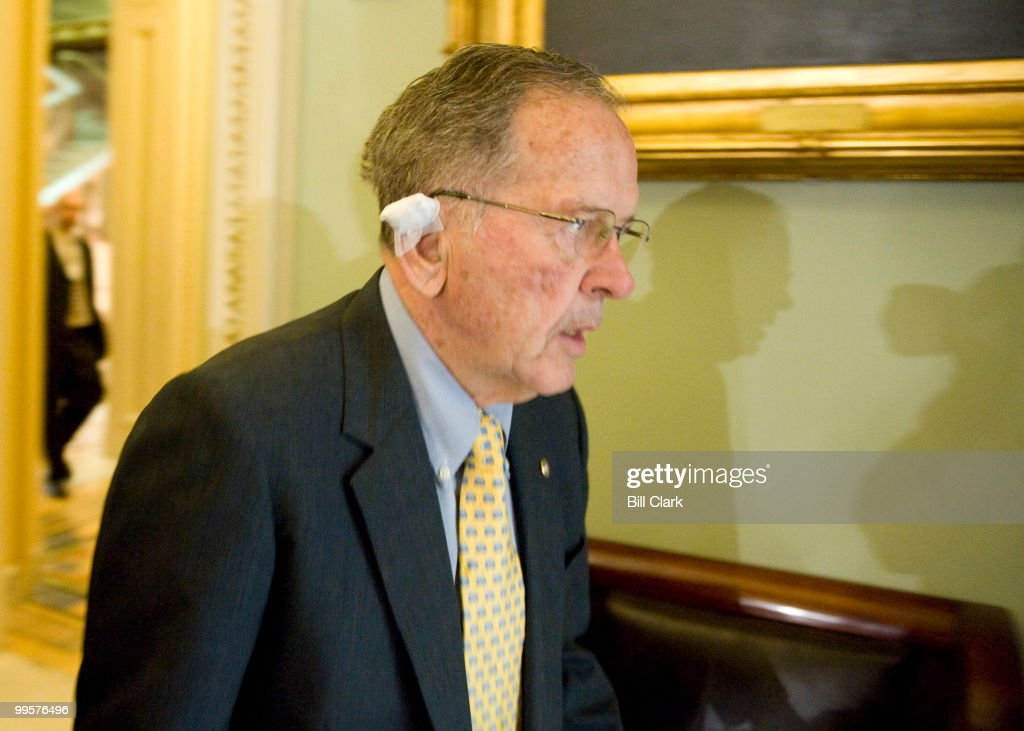 Sen. Ted Stevens, R-Alaska, makes his way to the Senate Republican Policy Luncheon on Tuesday, April 29, 2008.