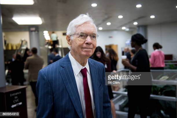 Sen Thad Cochran RMiss leaves the Senate Republicans' policy lunch with in the Capitol on Tuesday Oct 24 2017