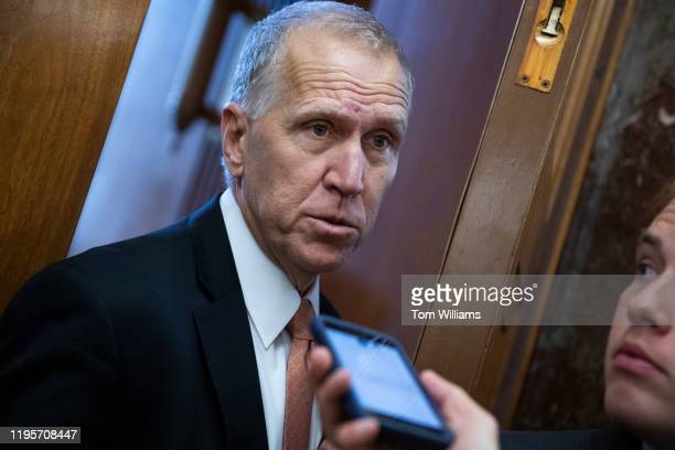 Sen Thom Tillis RNC arrives for a senators briefing with government health officials on the coronavirus at the Senate Health Education Labor and...