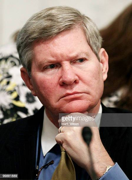 Sen Tim Johnson listens to Interior Secretary Ken Salazar testify during a Senate Energy and Natural Resources Committee hearing on Capitol Hill on...