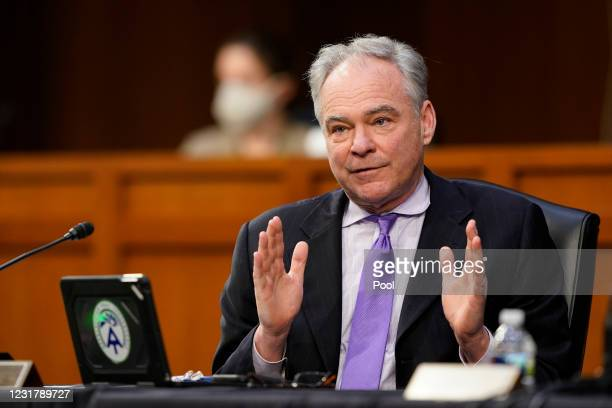 Sen. Tim Kaine speaks during a Senate Health, Education, Labor and Pensions Committee hearing on the federal coronavirus response on Capitol Hill on...