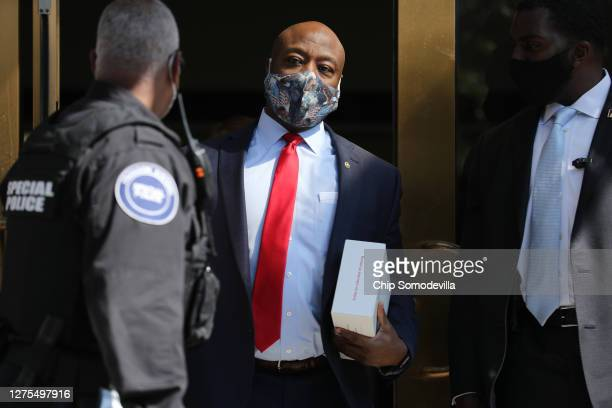 Sen. Tim Scott leaves a meeting of GOP senators at the National Republican Senatorial Committee offices September 22, 2020 in Washington, DC. This...