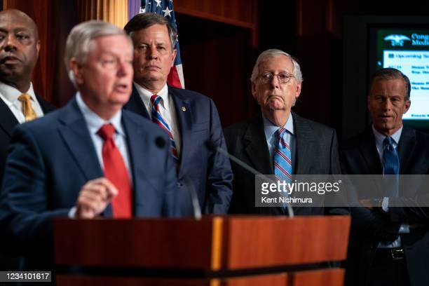 Sen. Tim Scott , Sen. Lindsey Graham , Sen. Steve Daines , Senate Minority Leader Mitch McConnell , and Sen. John Thune during a news conference on...
