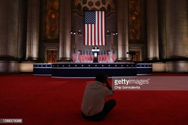 Sen. Tim Scott stands on stage in an empty Mellon Auditorium while addressing the Republican National Convention at the Mellon Auditorium on August...