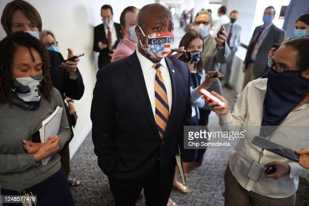 Sen Tim Scott the only AfricanAmerican Republican senator talks to reporters following the weekly Senate Republican policy luncheon in the Hart...