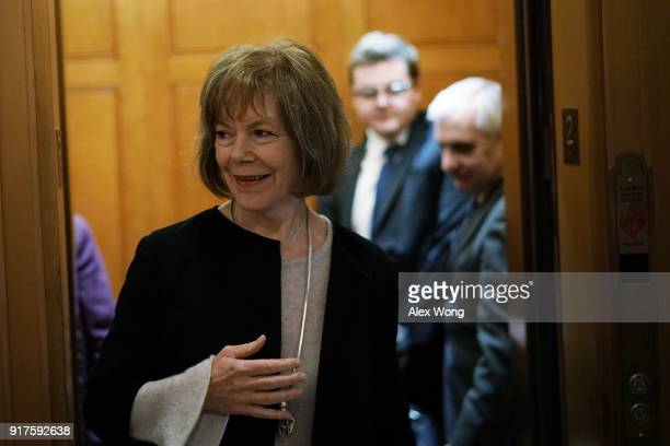 S Sen Tina Smith arrives for a vote at the Capitol February 12 2018 in Washington DC The Senate has passed a procedural vote today to begin debate on...