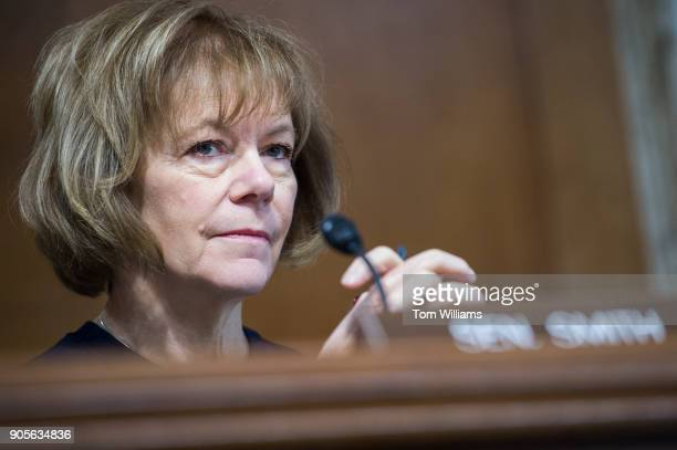 Sen Tina Smith DMinn attends a Senate Energy and Natural Resources Committee hearing in Dirksen Building titled 'The Domestic and Global Energy...