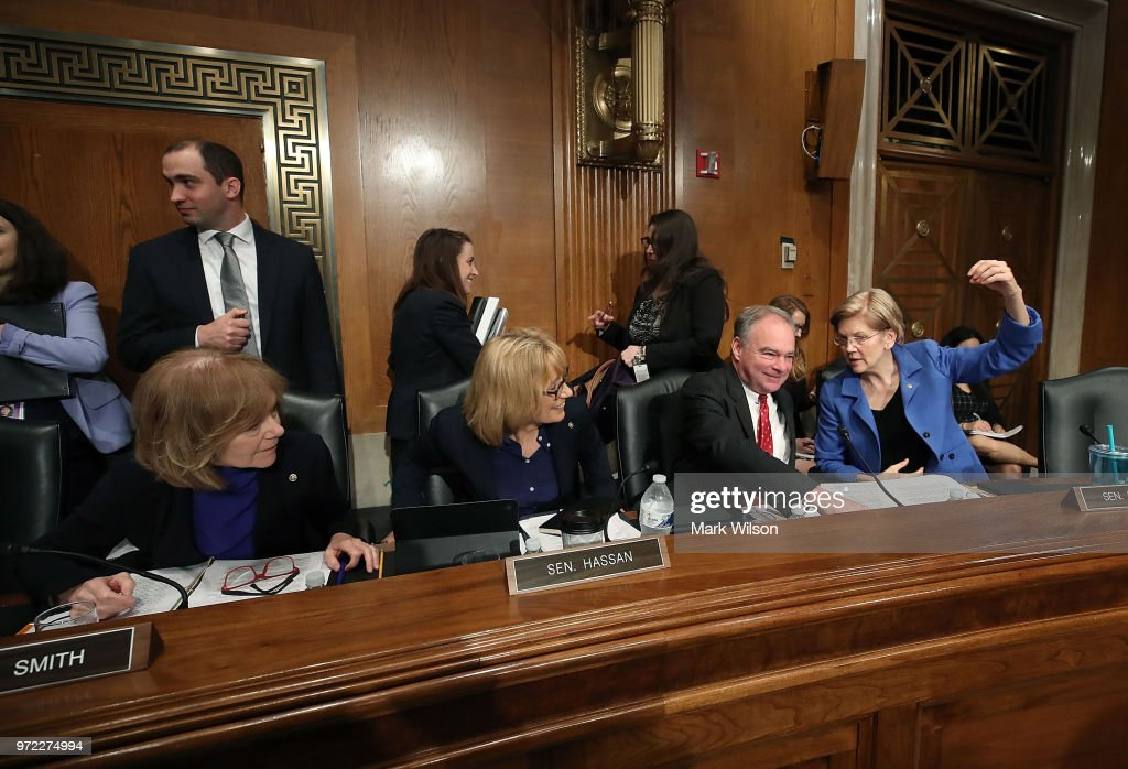 , Sen. Tina Smith (D-MN), Sen. Maggie Hassen (D-NH), Sen. Tim Kaine (D-VA), and Sen. Elizabeth Warren (D-MA), participate in Senate Health, Education, Labor and Pensions Committee hearing, on Capitol Hill June 12, 2018 in Washington, DC. The committee heard testimon ony from HHS Secretary Alex Azaron President Trump's Drug pricing plan.