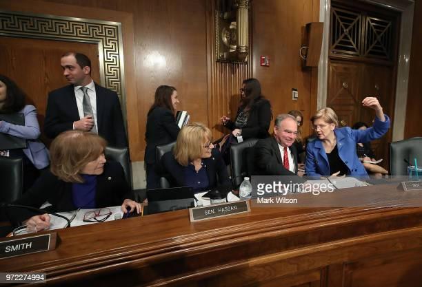 Sen Tina Smith Sen Maggie Hassen Sen Tim Kaine and Sen Elizabeth Warren participate in Senate Health Education Labor and Pensions Committee hearing...