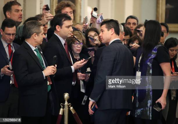 Sen Todd Young talks to reporters before attending President Donald Trumps Senate impeachment trial at the US Capitol on January 28 2020 in...