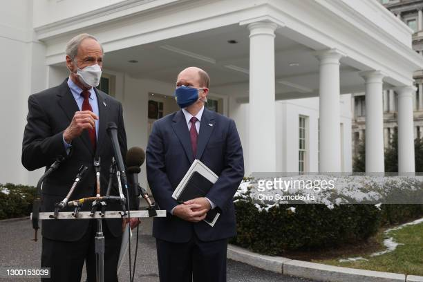 Sen. Tom Carper and Sen. Chris Coons talk to reporters after meeting with President Joe Biden at the White House February 03, 2021 in Washington, DC....