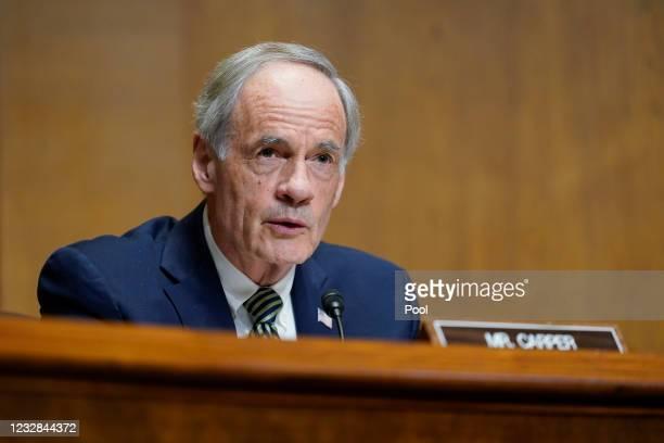 Sen. Tom Carper, asks a question of U.S. Trade Representative Katherine C. Tai as she testifies before the Senate Finance Committee on Capitol Hill...