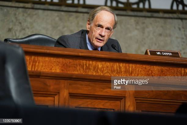 Sen. Tom Carper speaks during a hearing of the Finance Committee at which U.S. Trade Representative Robert Lighthizer testified on June 17, 2020 in...