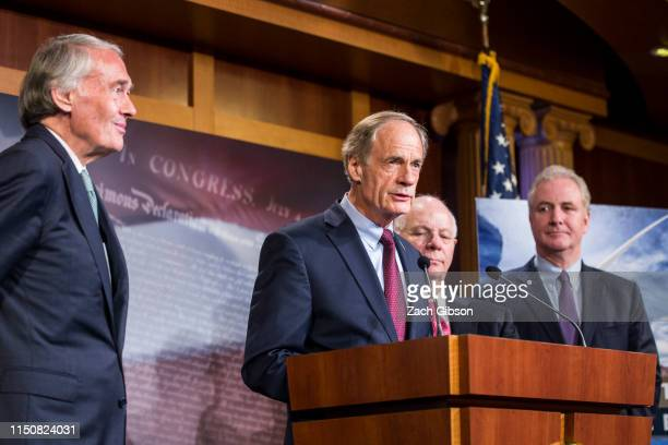 Sen. Tom Carper speaks during a news conference discussing the EPA's new affordable clean energy rule on June 19, 2019 in Washington, DC. The...