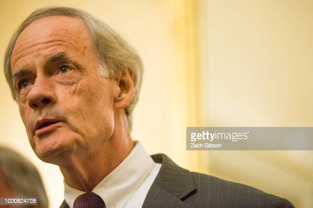 Sen. Tom Carper speaks during a news conference on President Donald Trump's Clean Energy Plan replacement on Capitol Hill on August 21, 2018 in...
