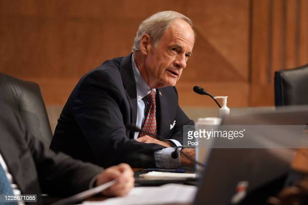 Sen. Tom Carper speaks during the Senate Homeland Security and Governmental Affairs Committee confirmation hearing of Chad Wolf to be Secretary of...