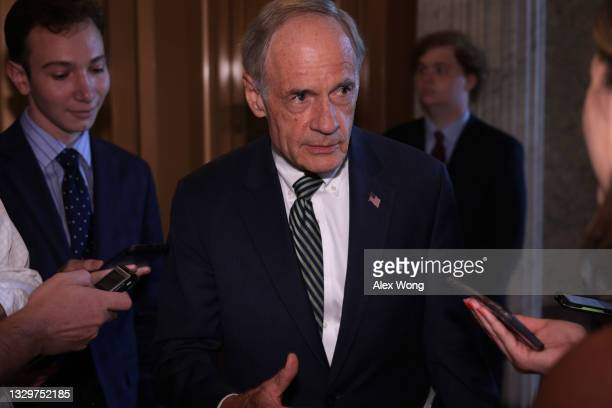 Sen. Tom Carper talks to reporters after a vote at the U.S. Capitol July 20, 2021 in Washington, DC. Senate Democrats held a weekly policy luncheon...
