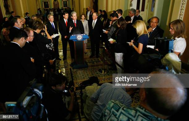 Sen Tom Coburn speaks with reporters on President Obama's healthcare bill following a Reoublican luncheon at the US Capitol July 21 2009 in...