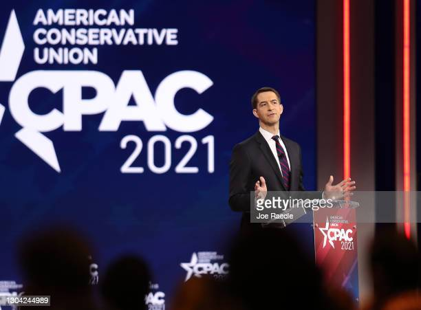 Sen. Tom Cotton addresses the Conservative Political Action Conference held in the Hyatt Regency on February 26, 2021 in Orlando, Florida. Begun in...