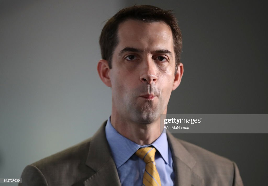 Sen. Tom Cotton (R-AR) arrives for a closed committee meeting July 11, 2017 in Washington, DC. Ranking member of the committee, Sen. Mark Warner (D-VA), commented briefly on recent reports of Donald Trump Jr. meeting with a Russian lawyer in June 2016.