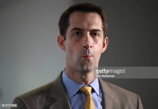 Sen Tom Cotton arrives for a closed committee meeting July 11 2017 in Washington DC Ranking member of the committee Sen Mark Warner commented briefly...