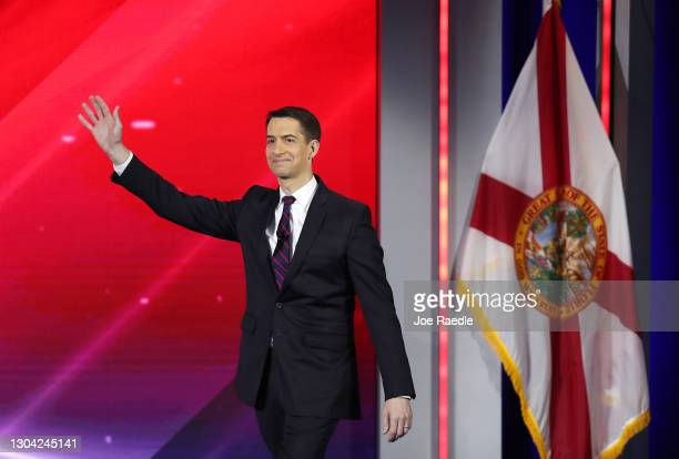 Sen. Tom Cotton arrives on stage to address the Conservative Political Action Conference being held in the Hyatt Regency on February 26, 2021 in...