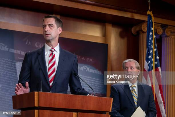Sen. Tom Cotton attends a press conference announcing Senate Republicans' opposition to D.C. Statehood on Capitol Hill July 01, 2020 in Washington,...