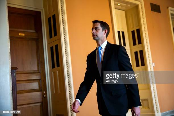 Sen. Tom Cotton departs the weekly Senate Republican's policy luncheon, on Capitol Hill, on July 24, 2018 in Washington, DC.