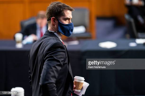 Sen. Tom Cotton gets up to leave as Federal Judge Merrick Garland testifies before a Senate Judiciary Committee hearing on his nomination to be US...
