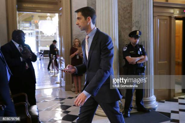 Sen Tom Cotton heads into the Senate Chamber at the US Capitol July 26 2017 in Washington DC Cotton is one of nine Republican senators that voted...