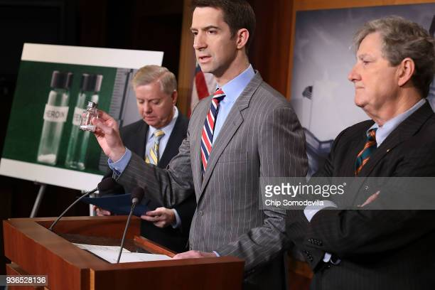 S Sen Tom Cotton holds up a salt shaker with an amount of powder that he said approximates a volume of fentanyl that could kill thousands of people...