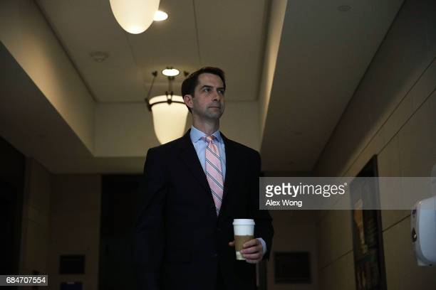 S Sen Tom Cotton leaves after Deputy Attorney General Rod Rosenstein's closed briefing at the Capitol May 18 2017 on Capitol Hill in Washington DC...