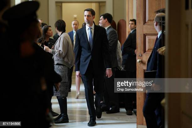 Sen Tom Cotton leaves the weekly Senate Republican policy luncheon in the US Capitol November 14 2017 in Washington DC Senate Republicans are...